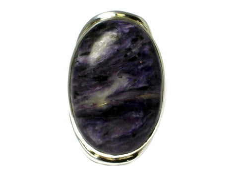 CHAROITE Sterling Silver 925 Oval Gemstone Ring - Size: Q