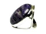 CHAROITE Sterling Silver 925 Oval Gemstone Ring - Size: Q (CHR2305171)