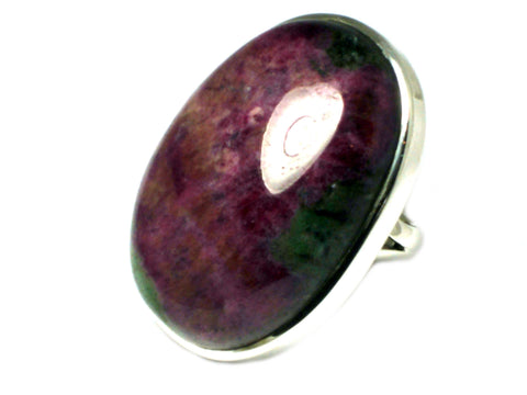 RUBY in ZOISITE Sterling Silver 925 Gemstone Ring (Size O)