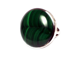 MALACHITE Sterling Silver 925 Gemstone Ring - Size Q