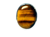 TIGERS EYE Sterling Silver 925 Oval Ring (Size: J)
