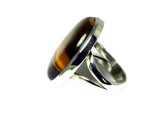 TIGERS EYE Sterling Silver 925 Oval Ring (Size: J) - (TER2305171)