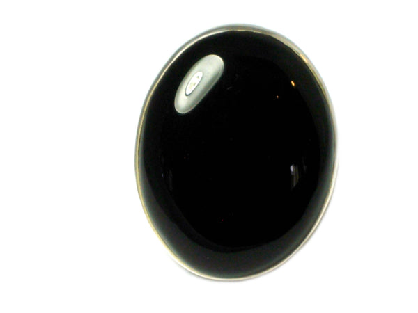 Black ONYX Sterling Silver 925 Oval Gemstone Ring (Size P)