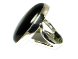 Black ONYX Sterling Silver 925 Oval Gemstone Ring (Size P) - (BOR2305171)