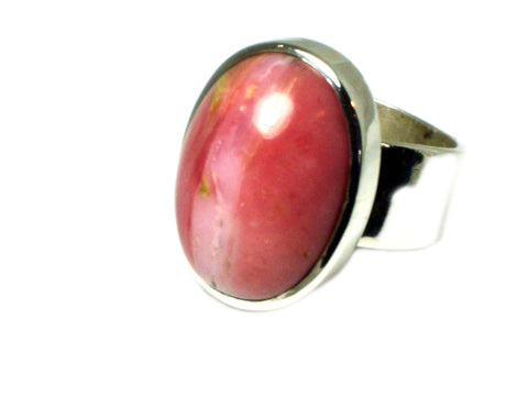 Pink OPAL Sterling Silver 925 Gemstone Ring - Size T - Hallmarked