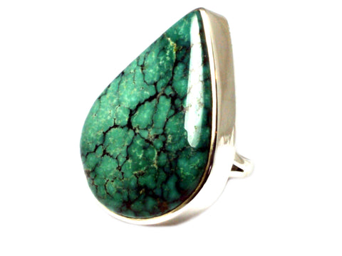 Tibetan TURQUOISE Sterling Silver 925 Ring (Size Q)