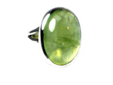 PREHNITE Sterling Silver 925 Oval Gemstone Ring - Size N