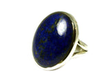 LAPIS LAZULI Sterling Silver 925 Oval Gemstone Ring - Size: M