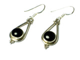 BLACK ONYX Sterling Silver Gemstone Earrings 925 - (BOER2906171)