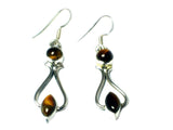 TIGER'S EYE Sterling Silver 925 Gemstone Earrings - (TEE2906171)