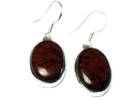 Mahogany Obsidian Sterling Silver 925 Gemstone Earrings