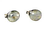 MOONSTONE Oval Shaped Sterling Silver Ear Studs 925