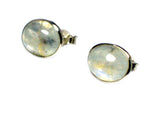 Fiery MOONSTONE Oval Shaped Sterling Silver Stud Earrings 925 - 8  x 10 mm