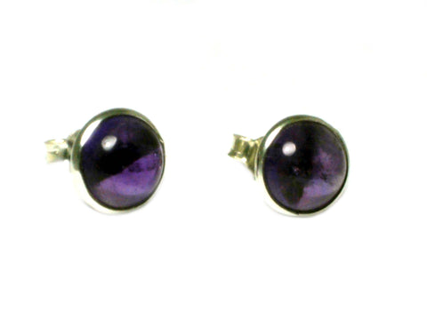 AMETHYST Round Sterling Silver Gemstone Ear Studs 925 - 8 mm