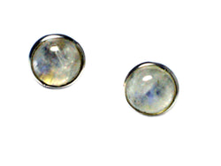 MOONSTONE Round Shaped Sterling Silver Ear Studs 925 - 8 mm