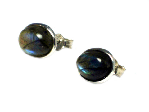 LABRADORITE Oval Shaped Sterling Silver Ear Studs