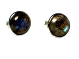 LABRADORITE Round Shaped - 8 mm - Sterling Silver Stud Earrings 925