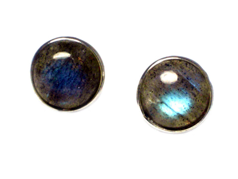 LABRADORITE Round Shaped - 8 mm - Sterling Silver Ear Studs 925