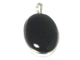 Oval BLACK ONYX Sterling Silver 925 Gemstone Pendant - (BOP3005171)