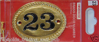 Black and Gold Heavy Solid Cast Brass House Number 23 Oval Sign Home Plaque