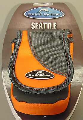 Compact Camera Case/Pouch/Bag Lanyard Velcro Belt Loop M/Card Pocket Grey/Orange