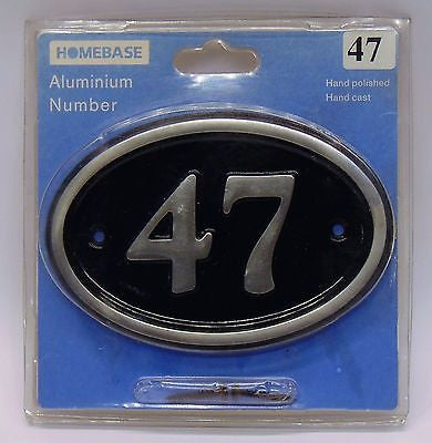 Black and Silver Aluminium Hand Polished/Cast House Number 47 Sign Home Plaque