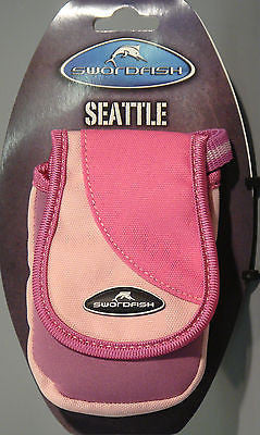 PINK Padded Compact Camera Case/Pouch, Lanyard Velcro Belt Loop 10 x 7.5 x 3cm