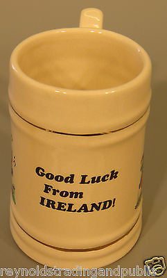 "2 Irish Leprechaun ""GOOD LUCK FROM IRELAND"" Pint Tankard Beer/Stot Pottery Stein"