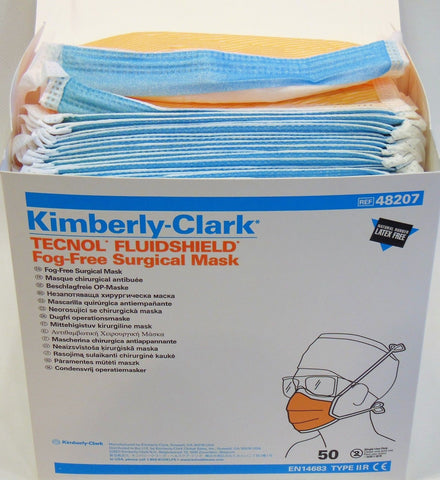 1 Box (50pcs) Kimberly-Clark Technol FluidShield Fog-Free Surgical Mask REF48207
