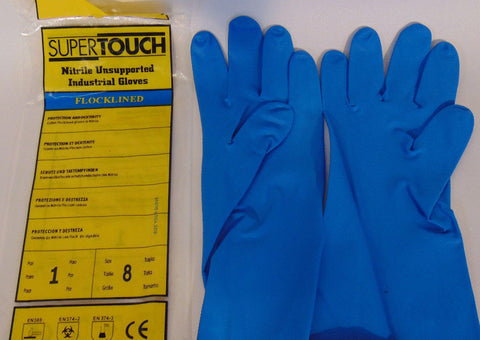 12 Pairs SuperTouch Flocklined Nitrile 320mm Gloves Gauntlet Small 8 Flocked N15