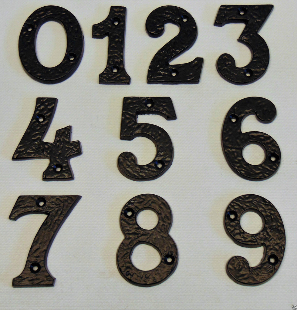 "Thick Black Wrought Cast Iron Antique Door Numbers 3""-77mm x 1/4""-6mm House/Home"