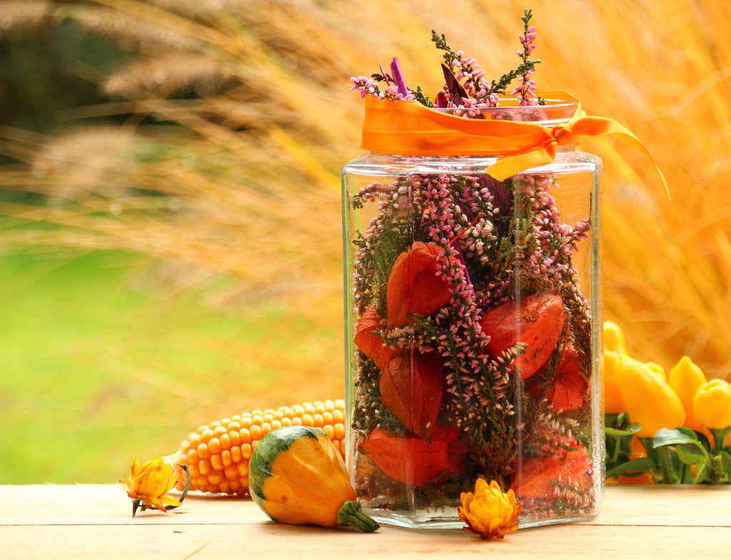 Autumn Flowers in Mason Jar