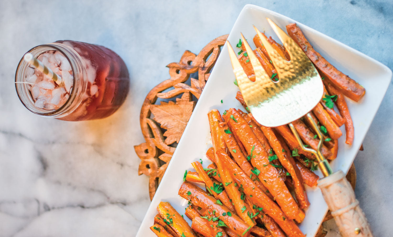 Roasted Carrots and Southern Breeze Sweet Tea in a Mason Jar