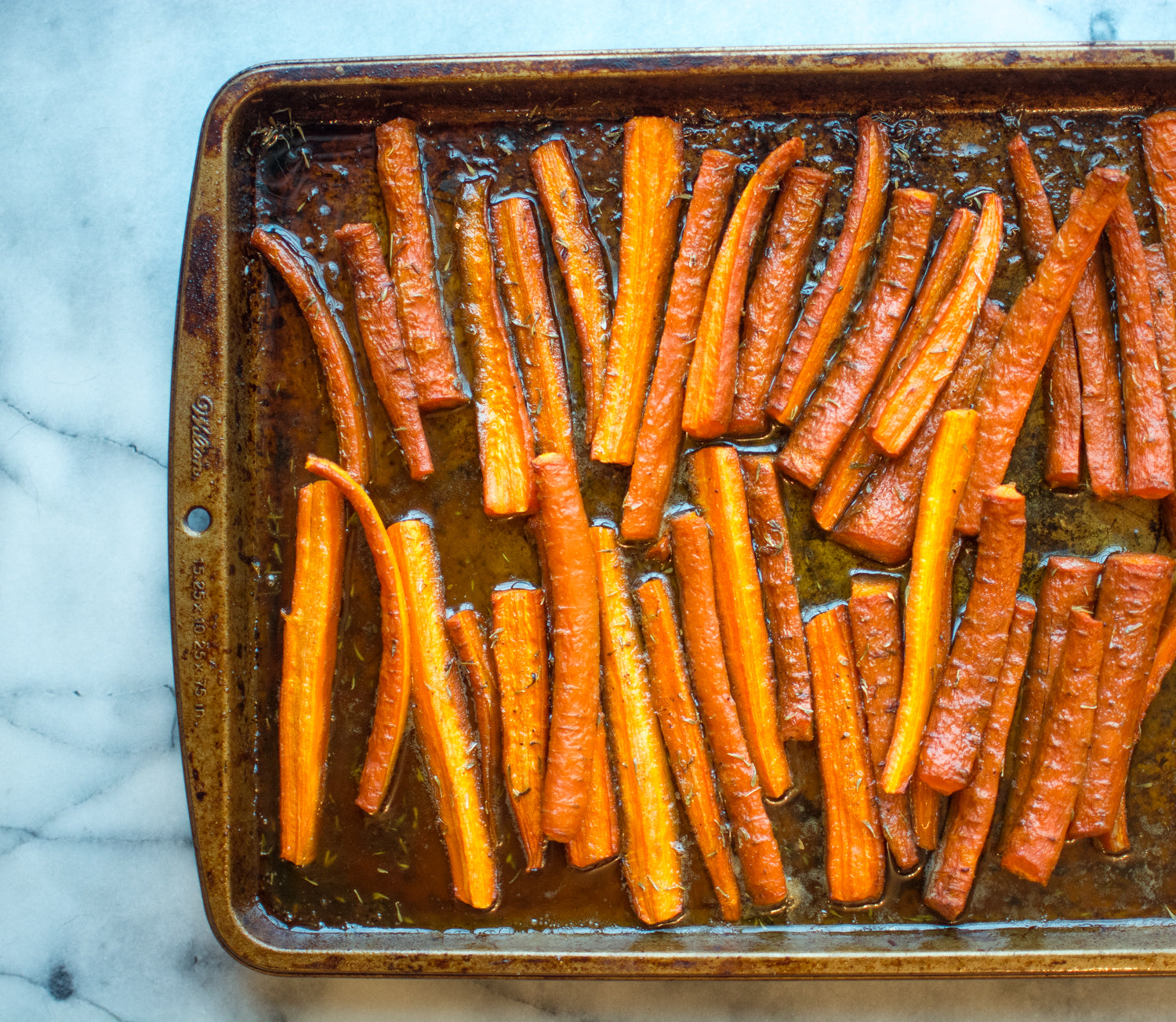 Roasted Carrots on Baking Sheet