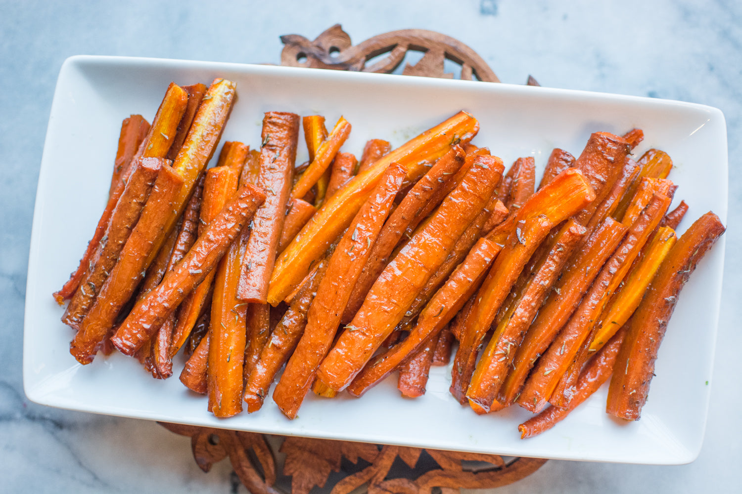 Roasted Carrots Served on Plate