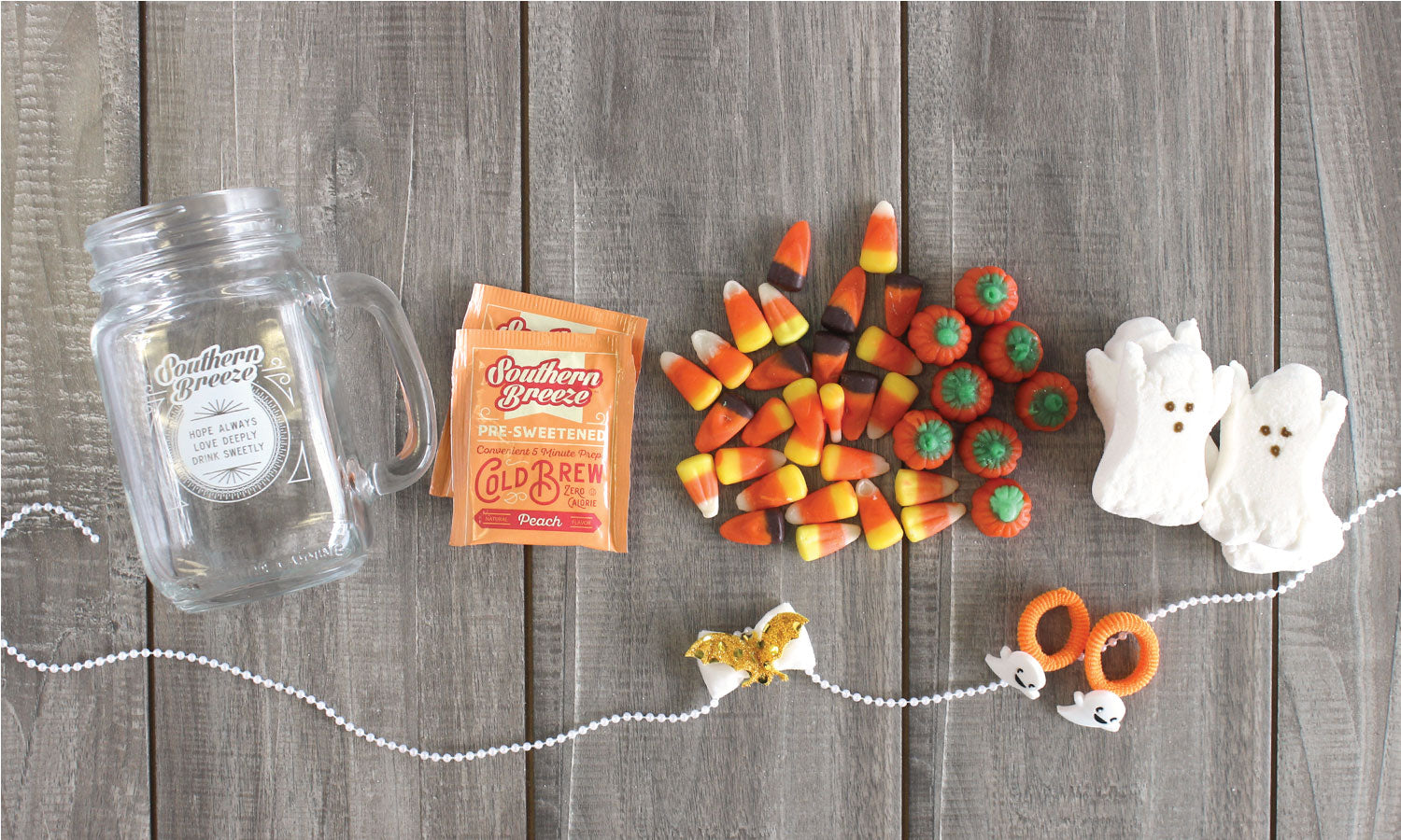 Items for DIY Halloween Sweet Tea Mason Jar