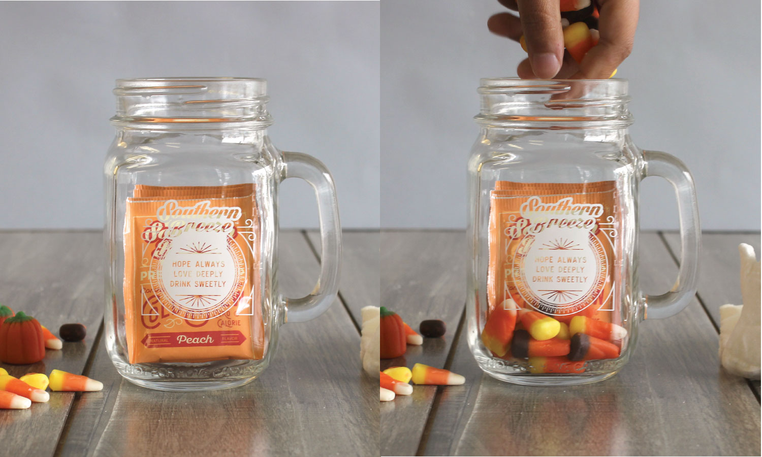 Sweet Tea and Candy Corn For DIY Halloween Mason Jar