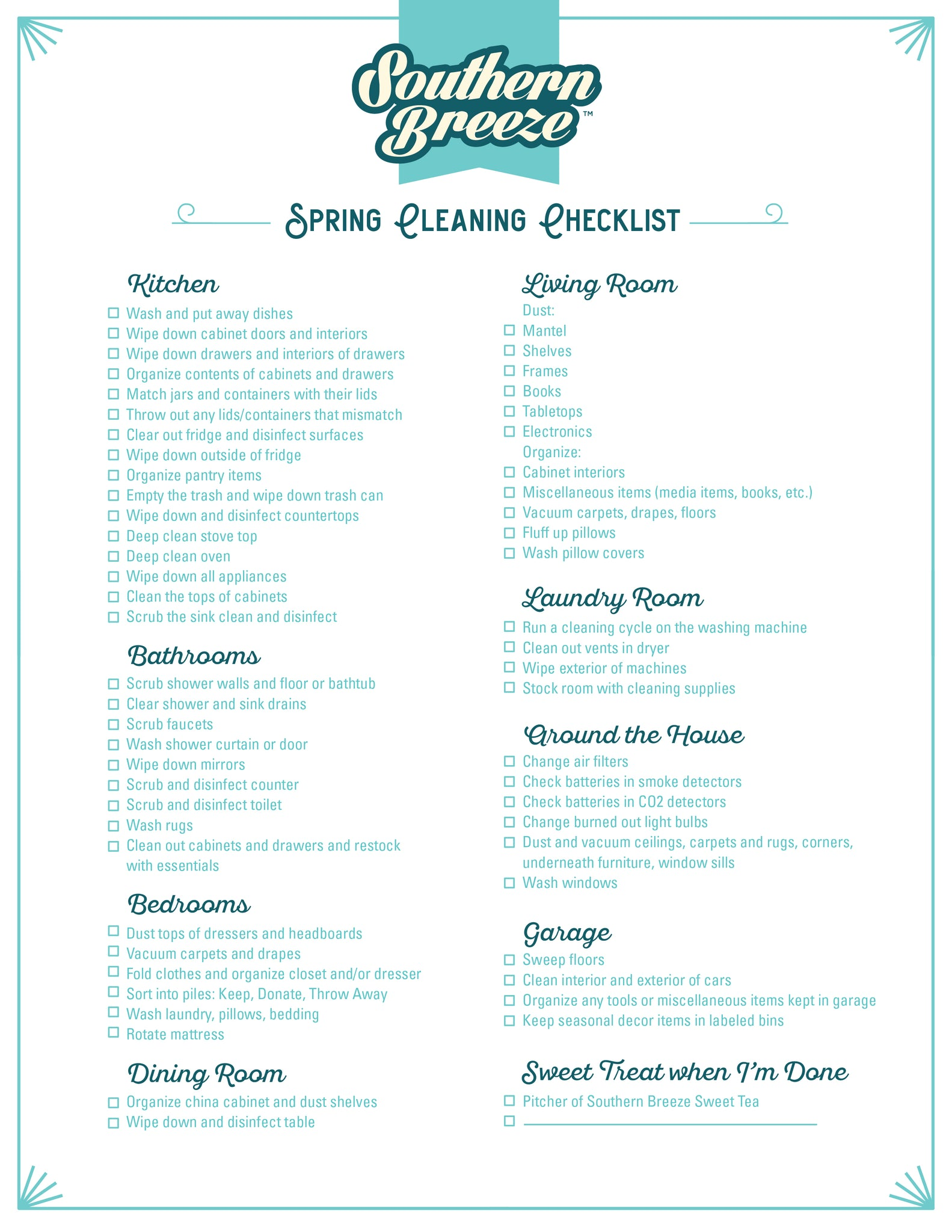 Southern Breeze Spring Cleaning Checklist