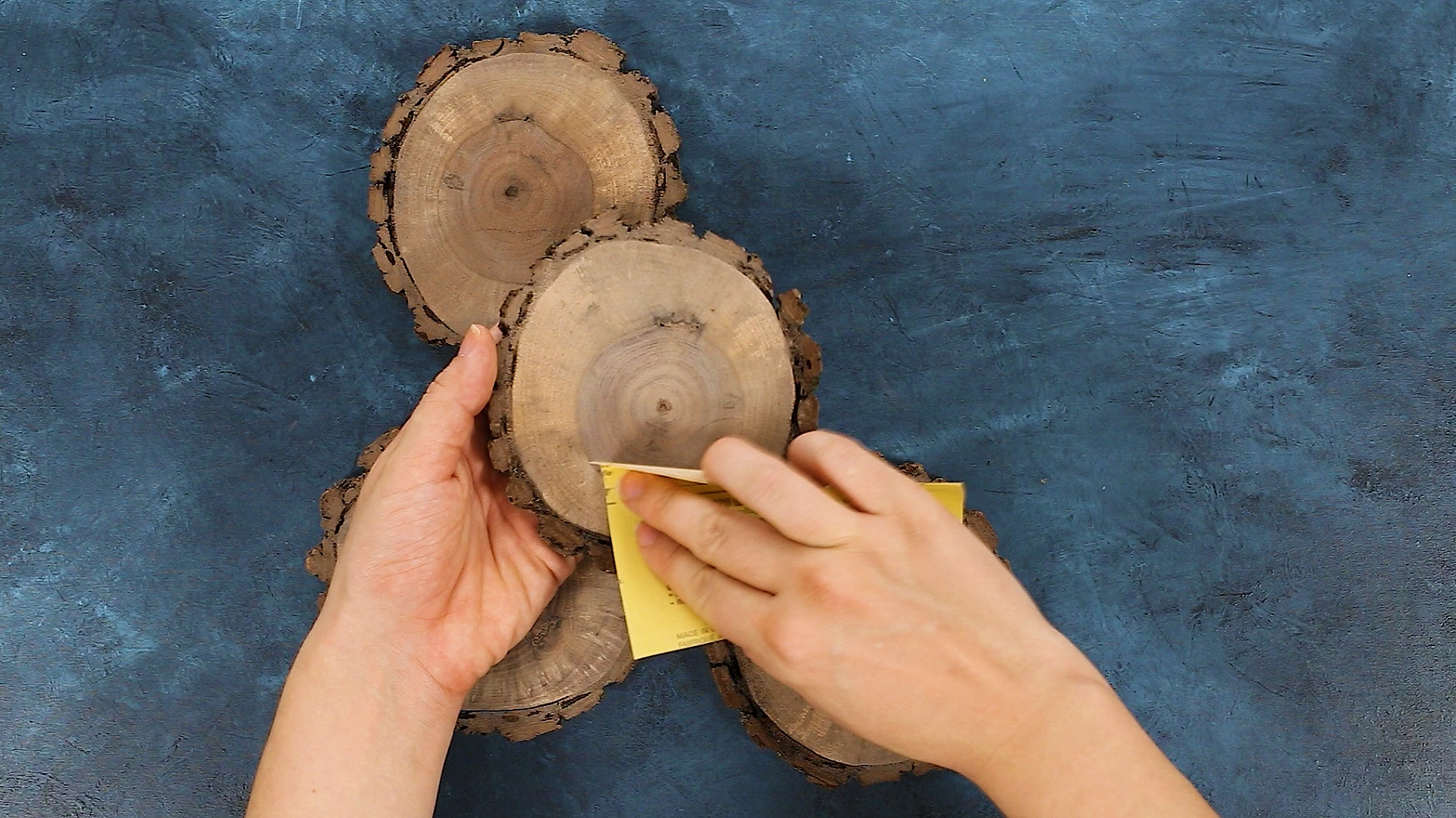 Sanding Wood Coasters for Southern Breeze Sweet Tea