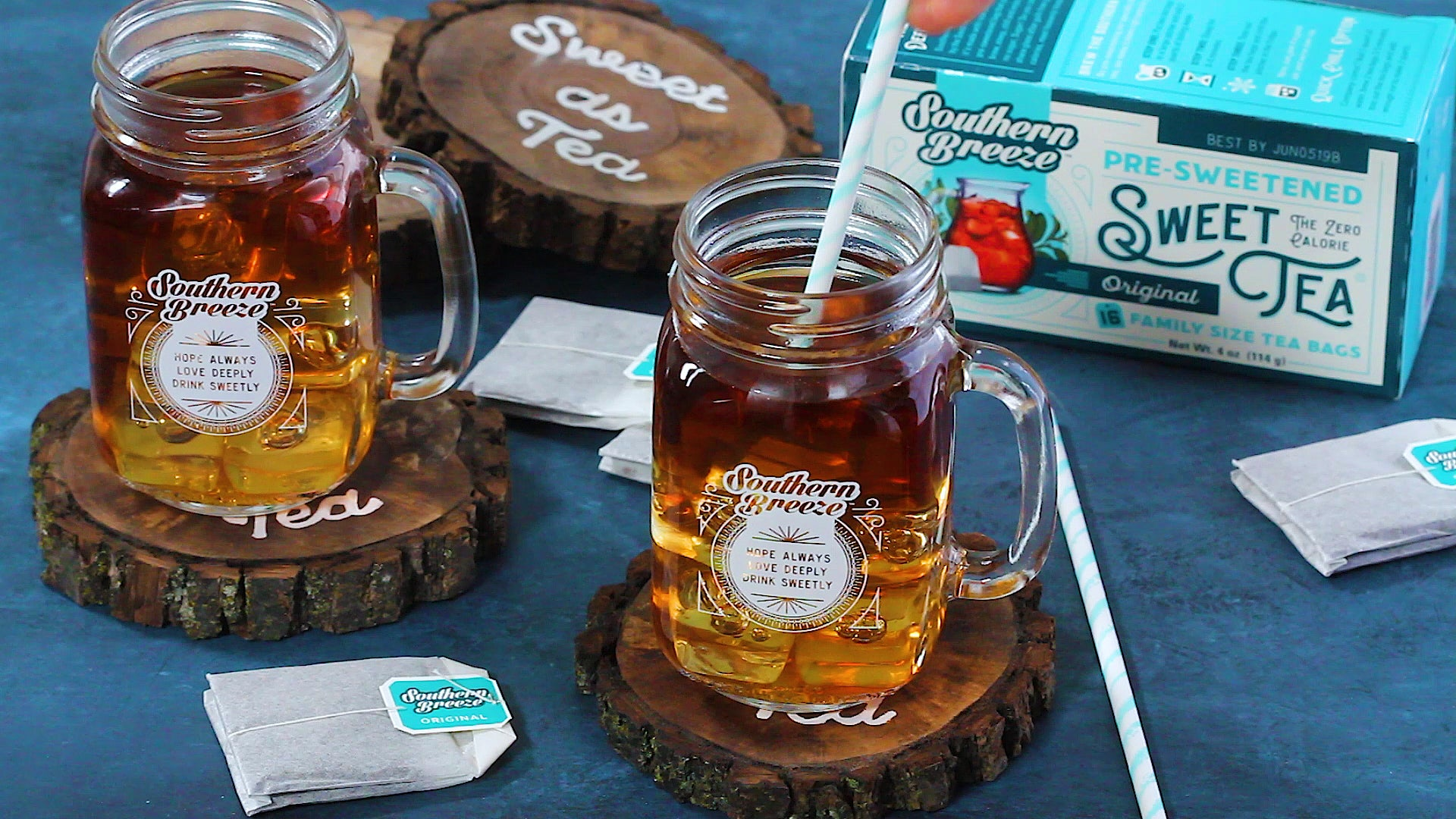 DIY Natural Wood Coasters for Southern Breeze Sweet Tea