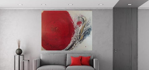 Fresh Cut Rose Acrylic Painting Abstract on Large Canvas