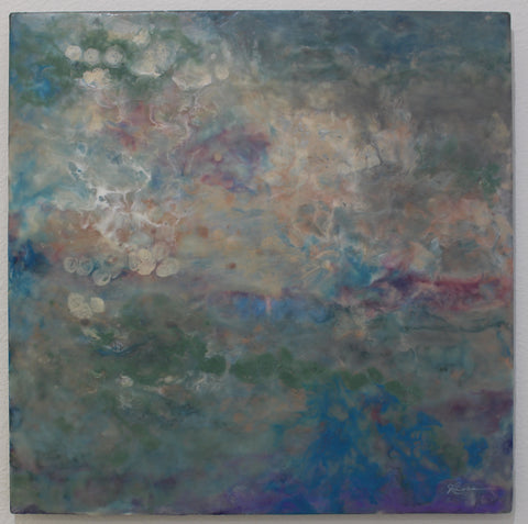 plastic oceans encaustic on metal by Julia Ross