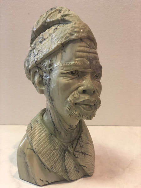 Batter Jade Stone Sculpture of African Man