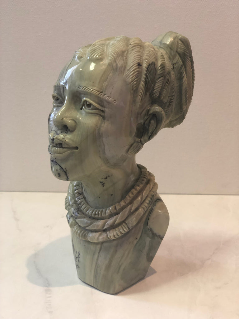 Batter Jade Stone Sculpture of African Woman