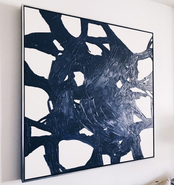 Into the Blue Abstract Black White Painting Framed