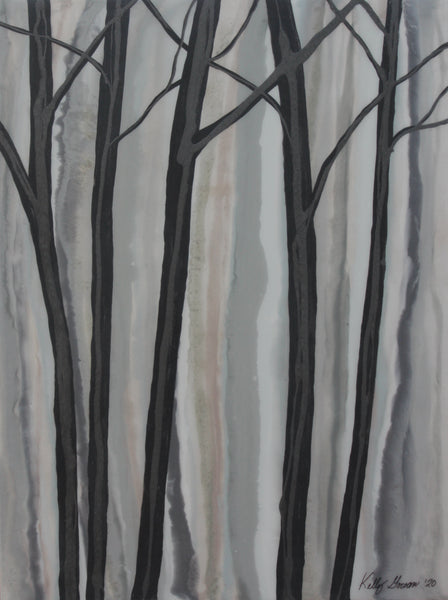 Misty Woods Tree Painting