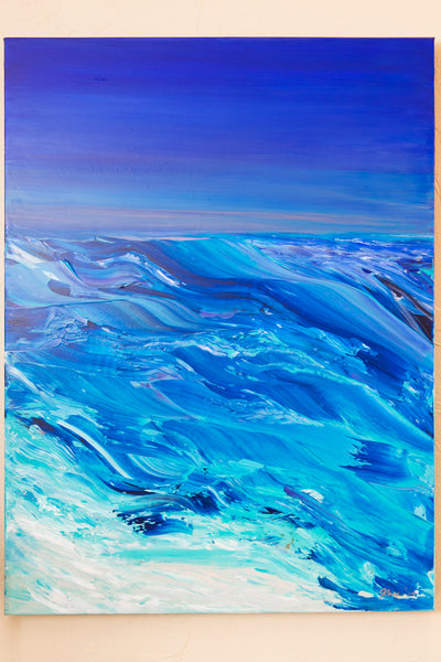 Ocean Art Plastic Oceans Palette Knife Painting by Julia Ross