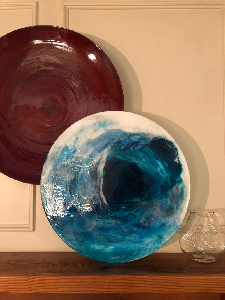 Acrylic Wave Rolls In on Acrylic Round Painting