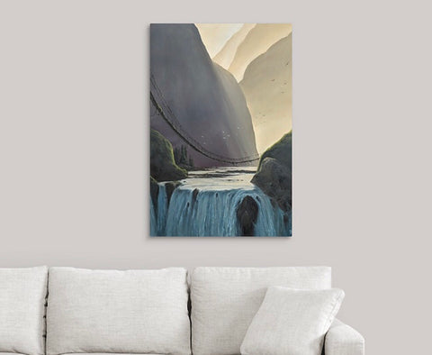 Sunny Ravine Waterfall Limited Edition Print on Metal
