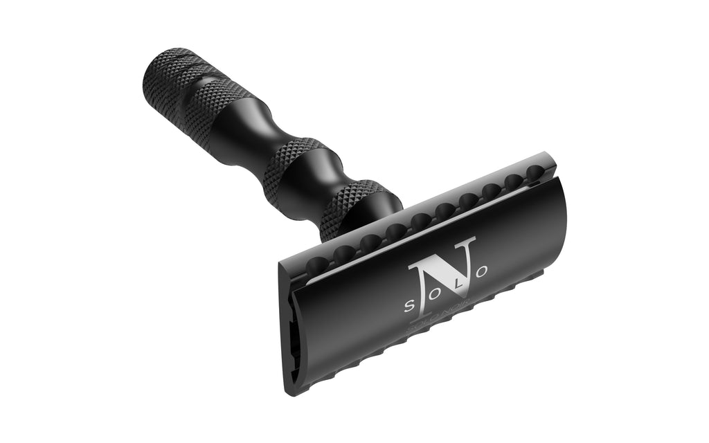 "SOLO NOIR® ""LUX™ BLACK STAINLESS STEEL DOUBLE EDGE SAFETY RAZOR"""
